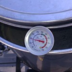 Heating Cider to 150 degrees.