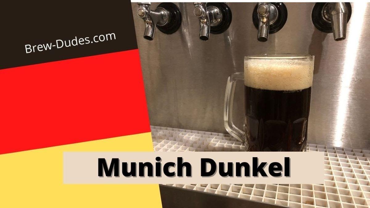 Munich Dunkel lager beer poured in a mug.