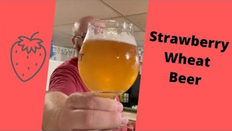 Strawberry wheat beer in a glass to show off its color